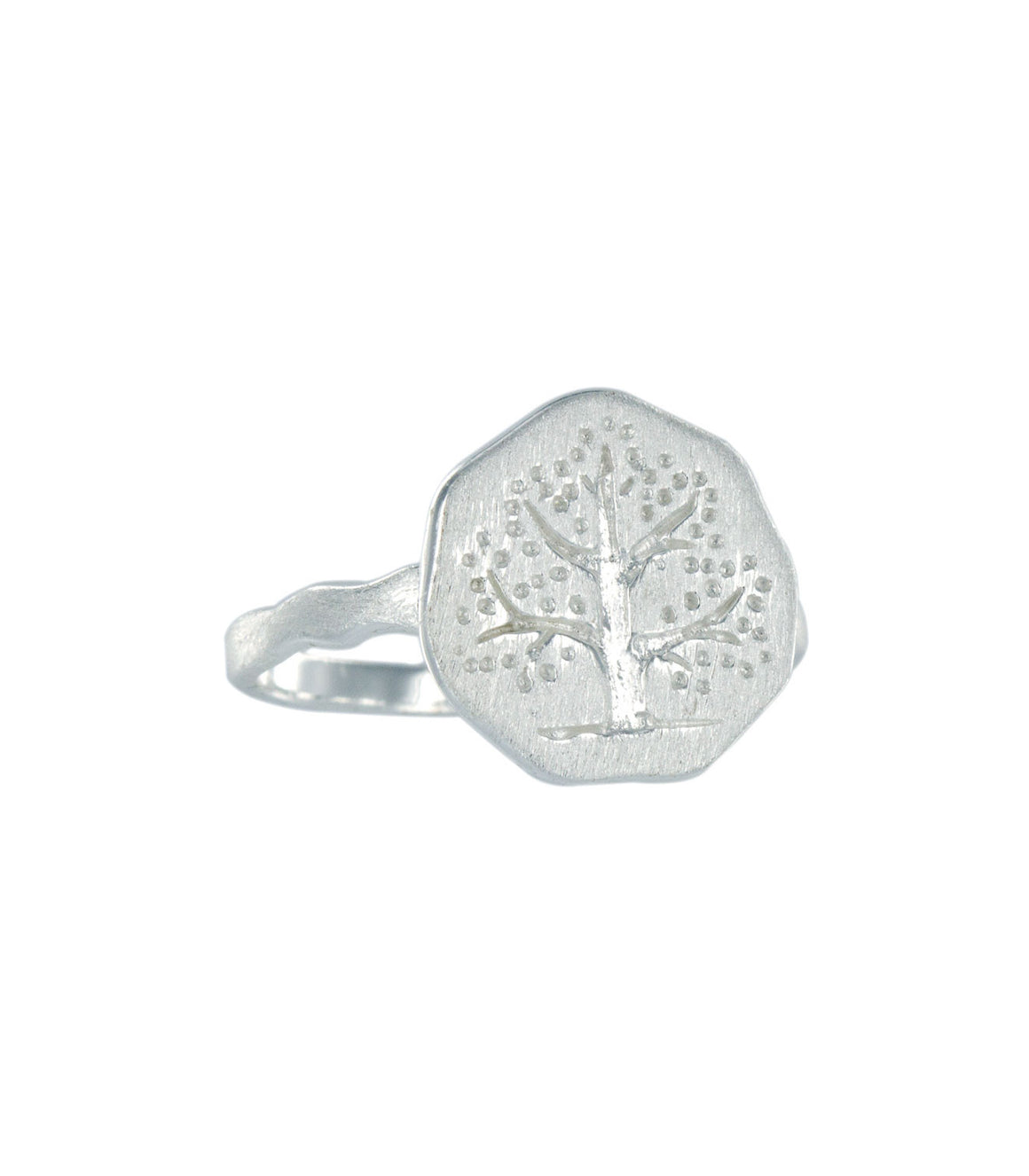 Tree wax seal crest sterling silver ring.