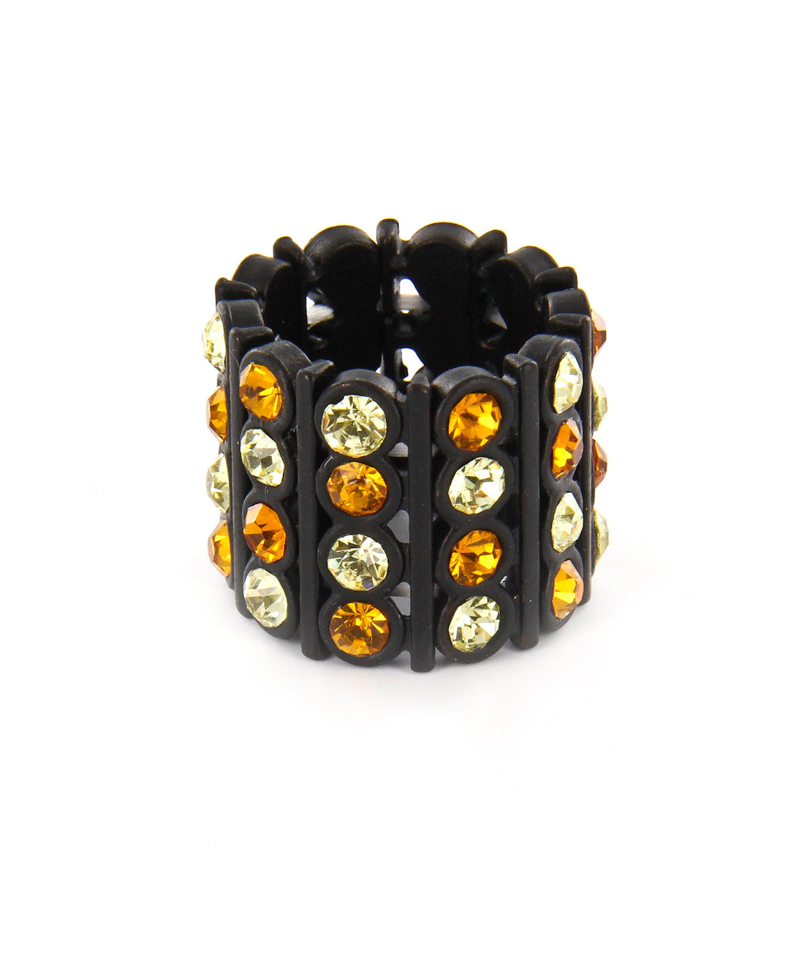 Tall rhinestone orange and black stretch ring.
