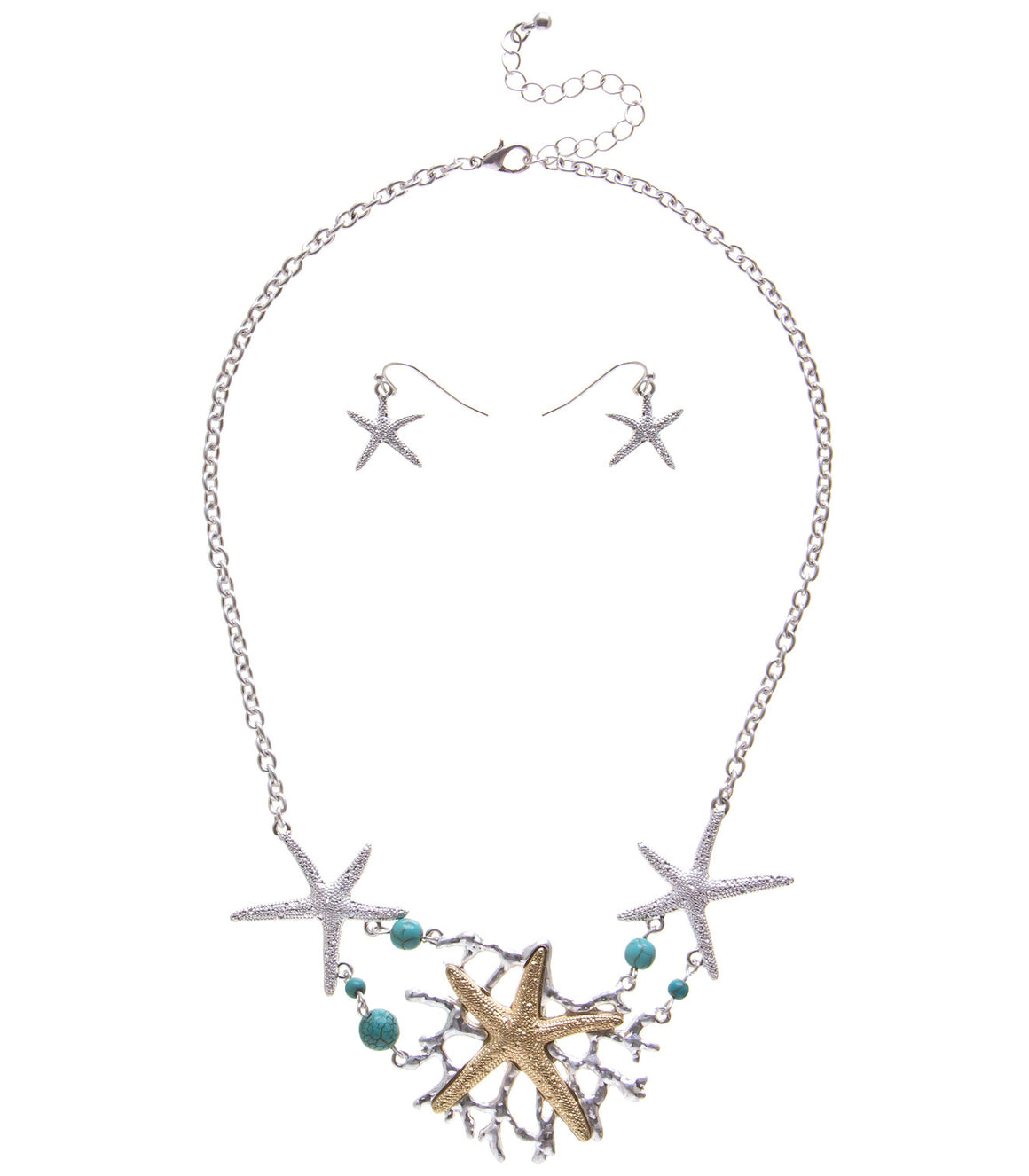 Starfish multimetal collar Bib Necklace