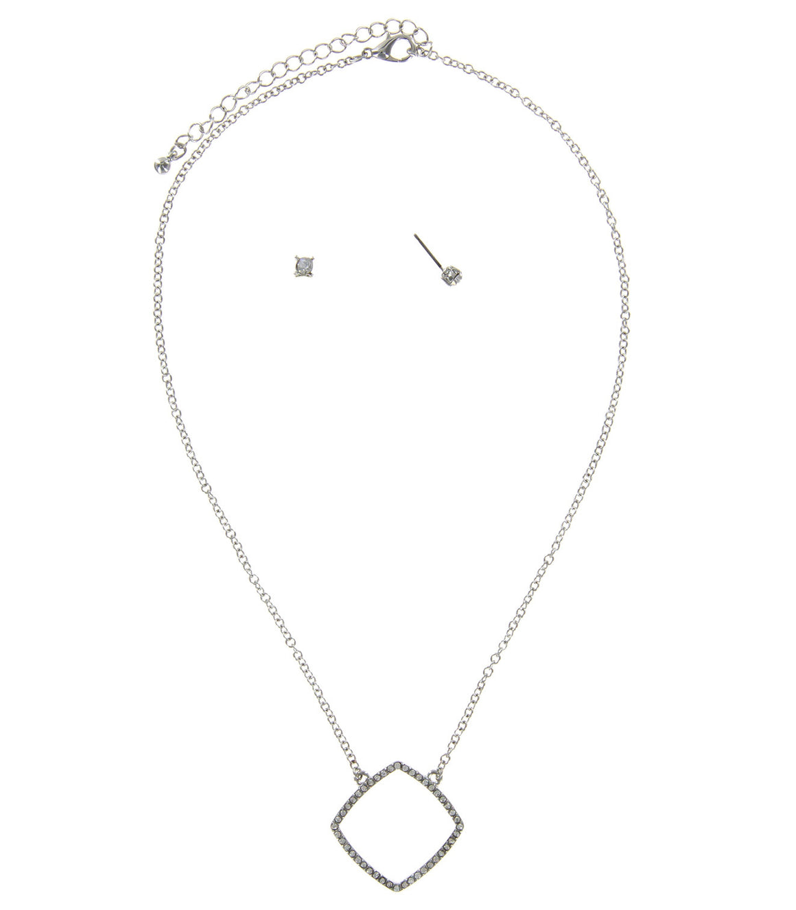 Geometric square rhinestone Pendant Necklace