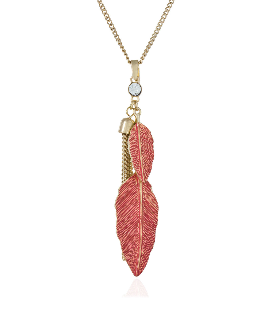 Feather charm and tassel long pendant necklace.