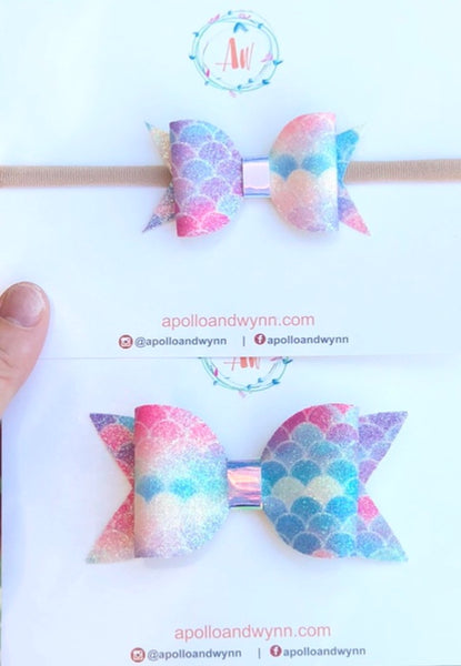 Big Sister/Little Sister Pastel Mermaid bow Set