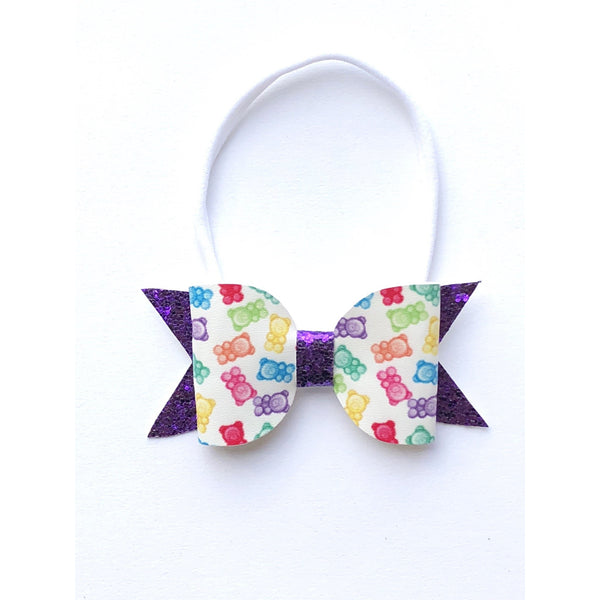 Gummy Bear Glitter/Leatherette Bow Headband - Apollo & Wynn