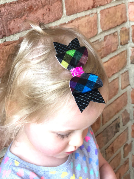Plaid Glitter Hair Bow Clip