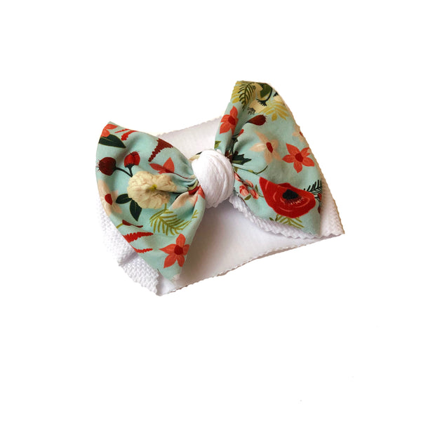 Light Blue Floral Two Tone Head Wrap - Apollo & Wynn