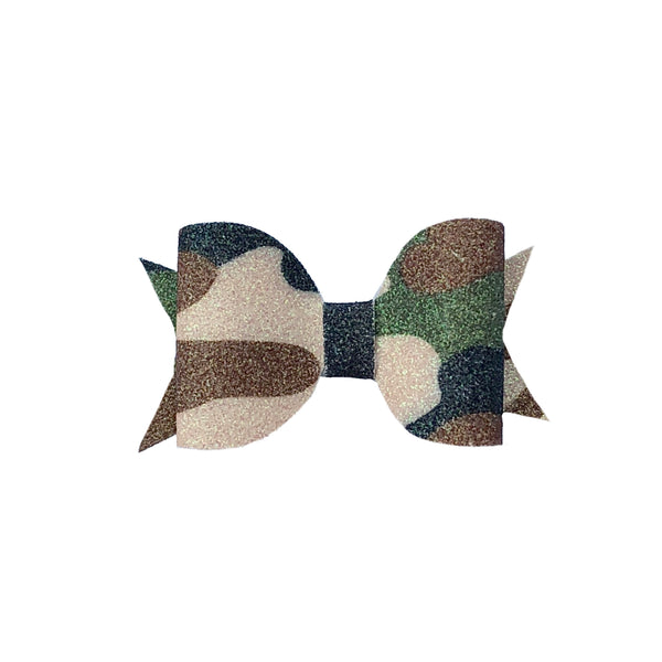 Camo Glitter Small Hair bow