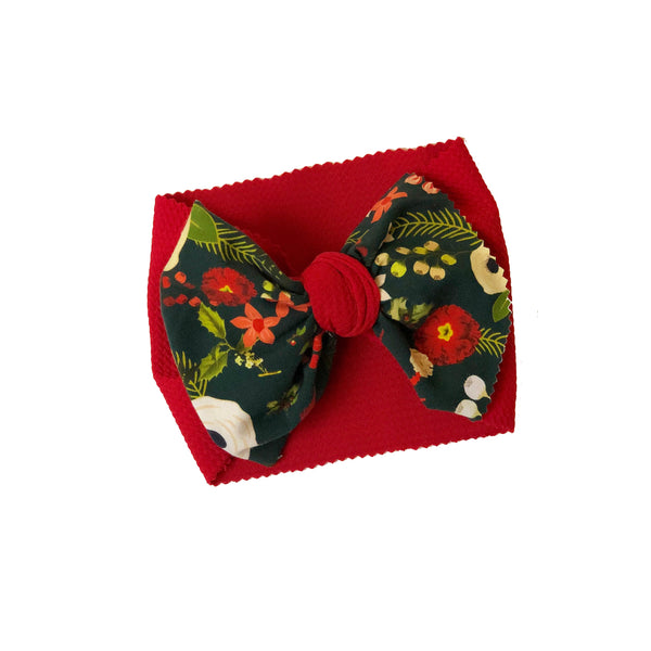 Evergreen Floral Two Tone Head Wrap