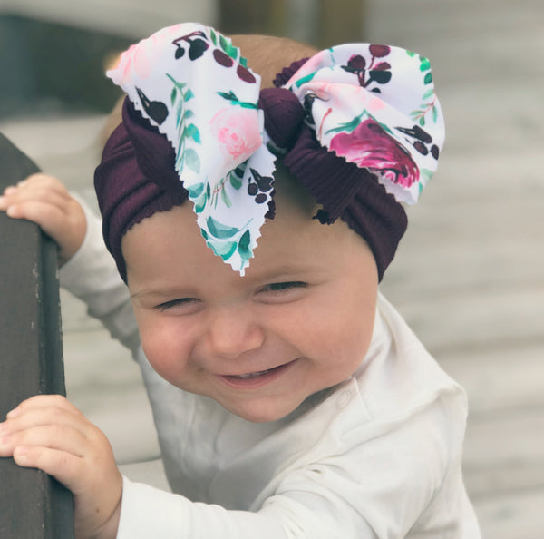 Purple Floral Two Tone Head Wrap