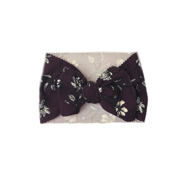 Dark Purple Floral Head Wrap - Apollo & Wynn