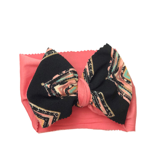 Black Chevron and Pink Two Tone Head Wrap