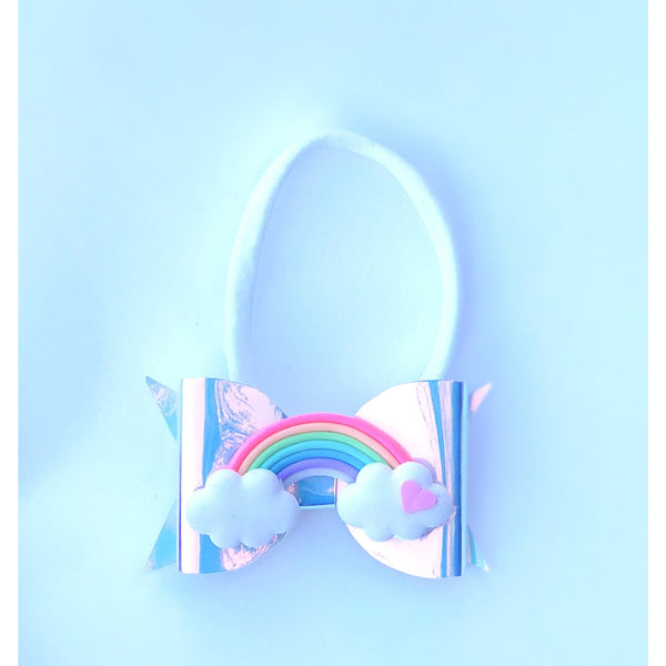 Iridescent Rainbow Bow Headband - Apollo & Wynn