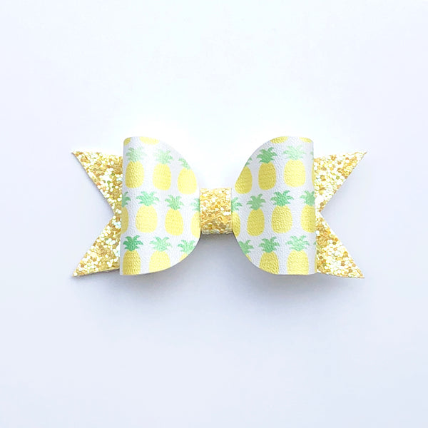 Neon Yellow Pineapple Bow Clip - Apollo & Wynn