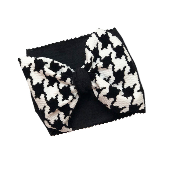 Black and White Houndstooth Two Tone Head Wrap