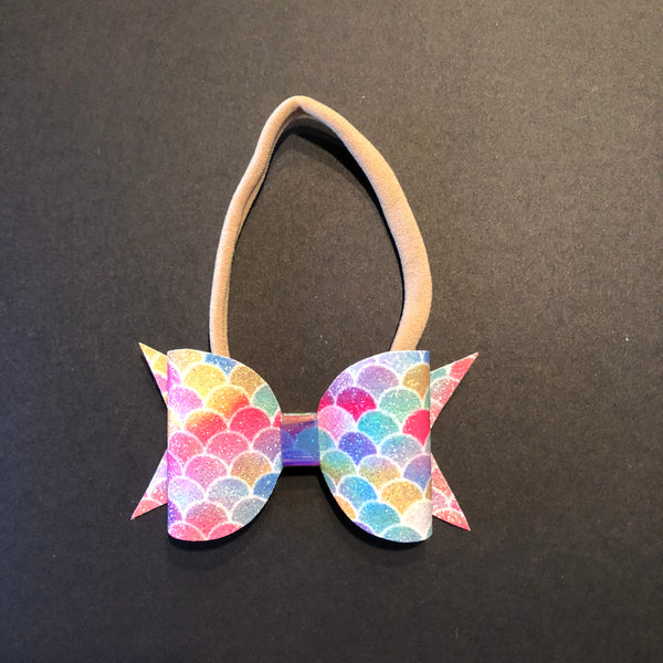 Mermaid Rainbow Glitter Bow Headband