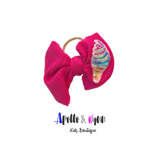 Fuschia Ice Cream bow on Nylon - Apollo & Wynn