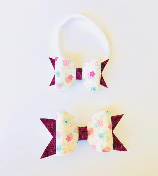 Big Sister/Little Floral Hair bow Set