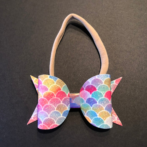 Mermaid Rainbow Glitter Bow Headband - Apollo & Wynn