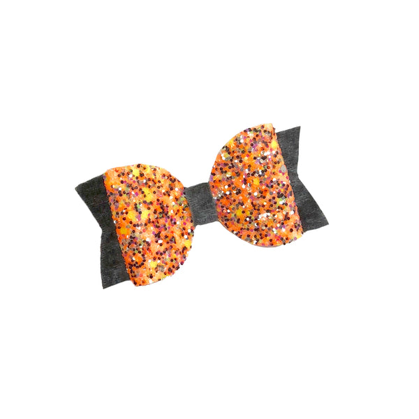 Orange Glitter Velvet Bow - Apollo & Wynn