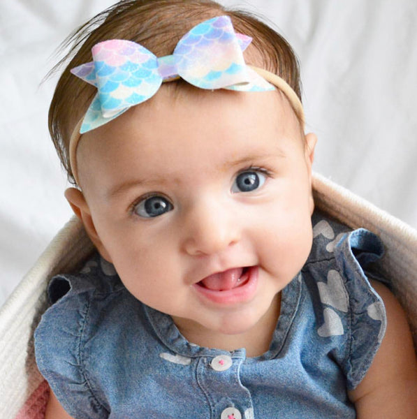 Mermaid Scale Pastel Glitter Bow Headband - Apollo & Wynn