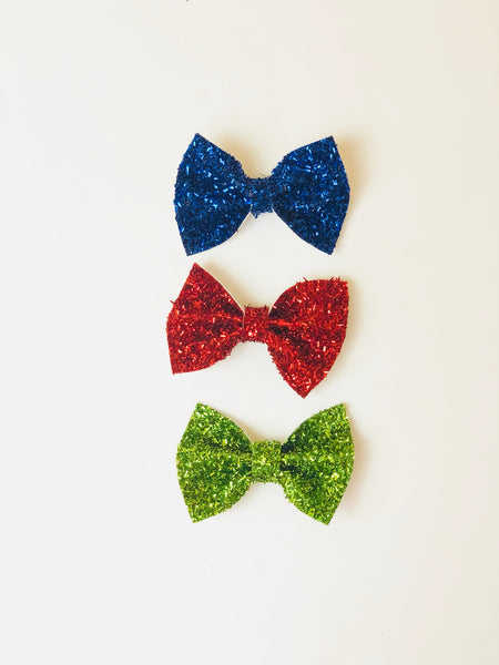 Christmas Tinsel Hair Bow Clip
