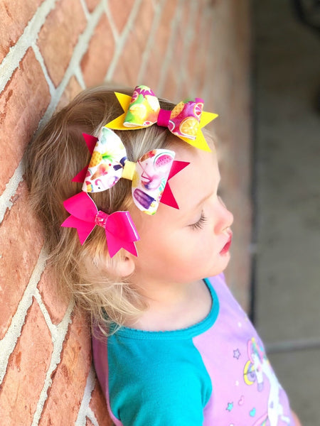 Summer Hair Bow set Clips