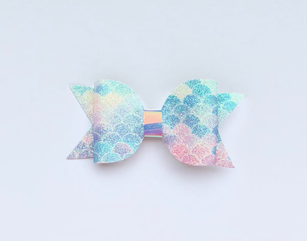 Mermaid Pastel Glitter Bow Clip