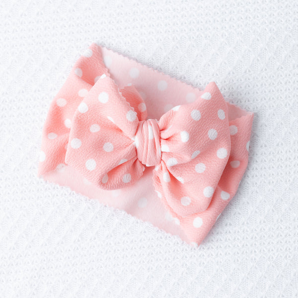 Coral Polka Dot Big Bow Head wrap/ Nylon - Apollo & Wynn