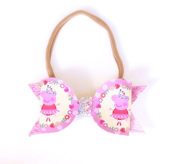 Peppa Glitter Bow Headband - Apollo & Wynn