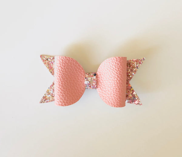 Pink Coral Leather/Glitter Bow
