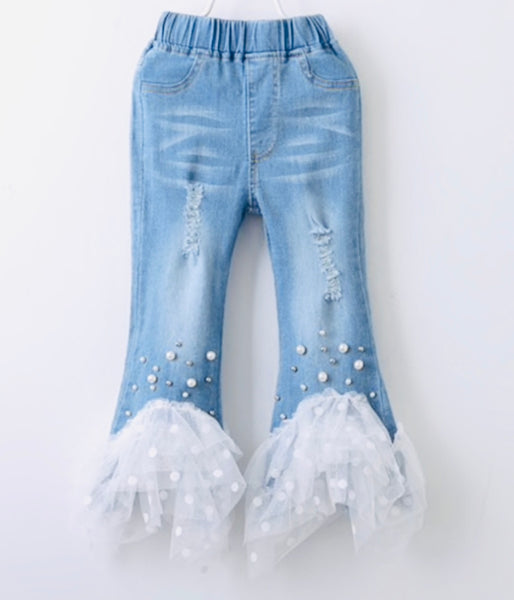 Denim Lace Beaded Jeans - Apollo & Wynn