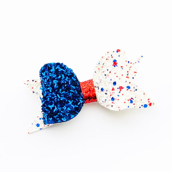 Speckles 4th of July Glitter Bow Clip