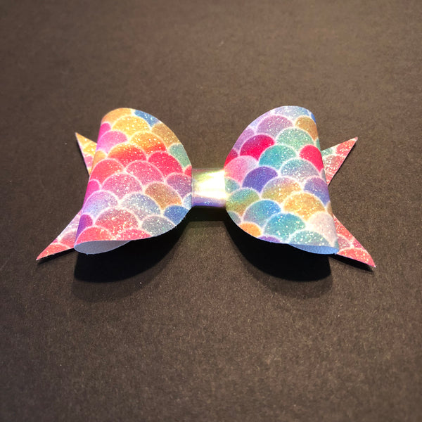 Mermaid Rainbow Glitter Bow Clip - Apollo & Wynn
