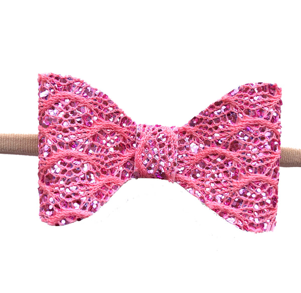 Juliette Pink Lace Glitter Bow Headband - Apollo & Wynn