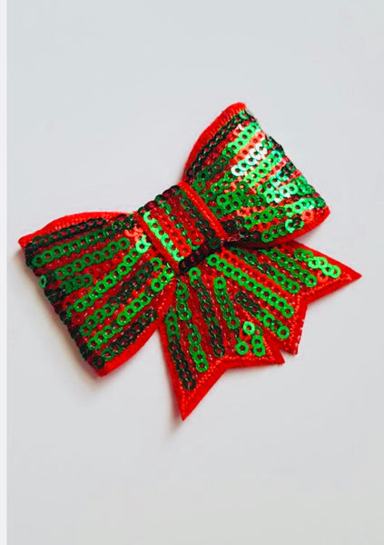 Christmas Bow Sequin Hair Clip - Apollo & Wynn