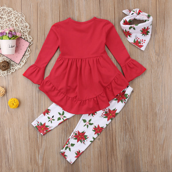 Red Shirt/Dress with Poinsettia Leggings