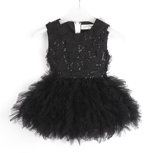 Black Sleeveless Sequin Tulle Dress