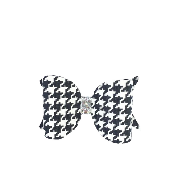 Black/White  Houndstooth Glitter Bow Clip