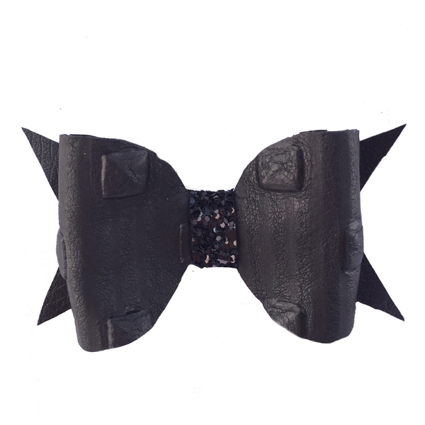 Black Leather Studded Bow Clip