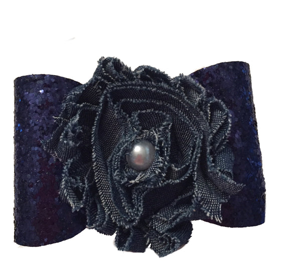 Navy Glitter Denim Flower Hair Bow Clip - Apollo & Wynn