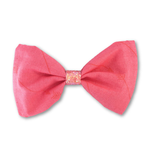 Arrow Coral Bow Hair Clip