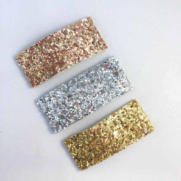 Glitter Snap Hair Clip (Gold/Silver/Rose Set)