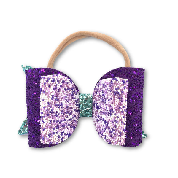 Mermaid Purple/Aqua Glitter Bow Headband - Apollo & Wynn