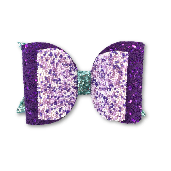 Mermaid Purple/Aqua Glitter Bow Clip