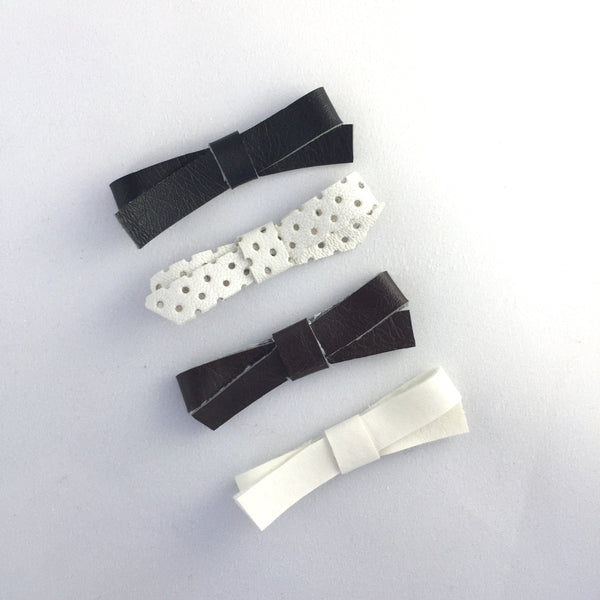 Audrey Leather Bows (Neutrals) Hair Clip Set