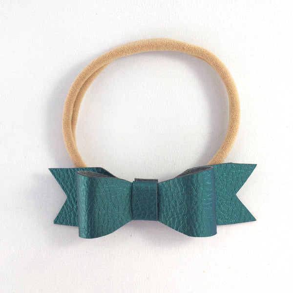 Wynn Leatherette Bow (Teal) Headband