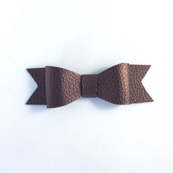 Wynn Brown Leatherette Bow Clip