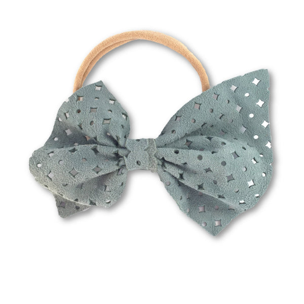 Naomi Leather Bow (Seafoam) Headband