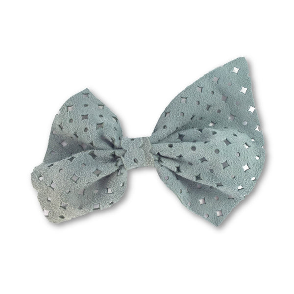 Naomi Leather Bow (Seafoam) Clip
