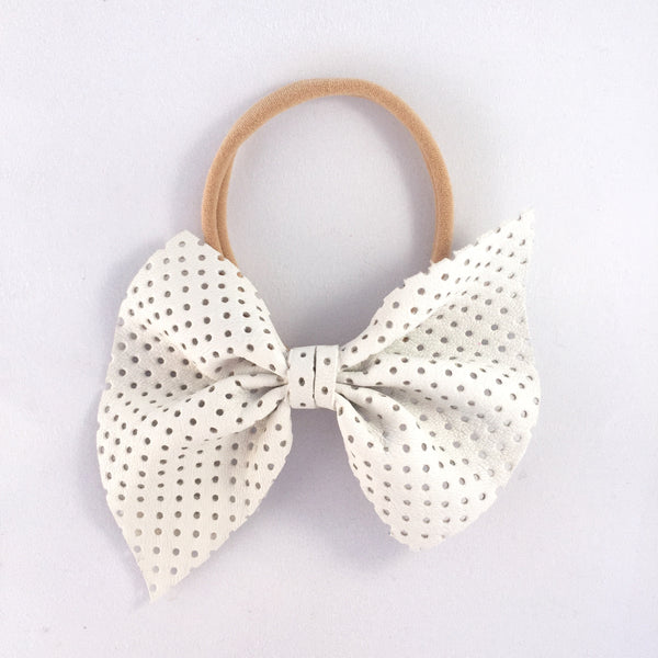 Naomi Leather Bow (White) Headband