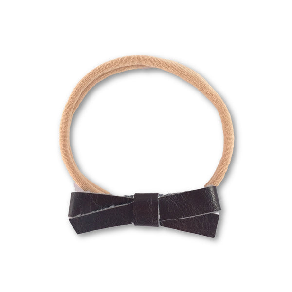 Audrey Brown Leather Bow Headband